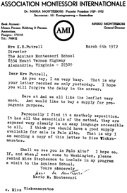 Letter from Mario Montessori to Kathleen H. Futrell